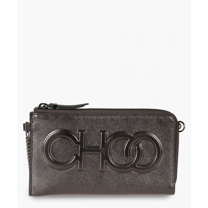 Image for Adelia grey leather clutch