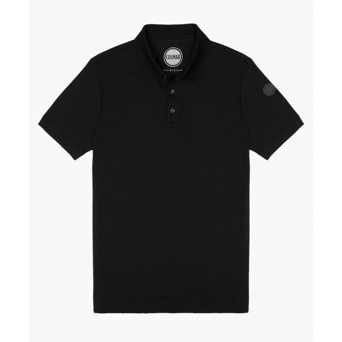 Image for Black cotton blend polo shirt
