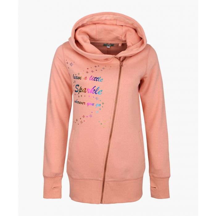 Image for Peach cotton blend zip-up hoodie
