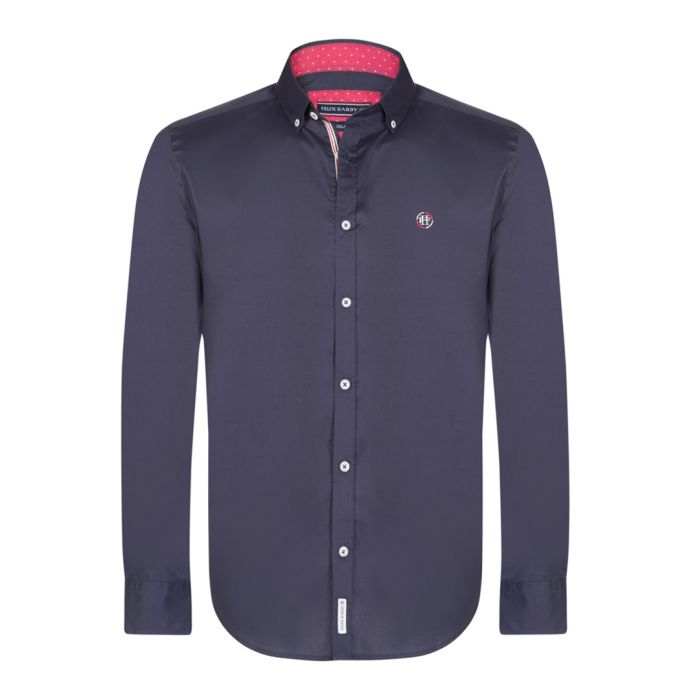 Image for Navy blue cotton button-up shirt