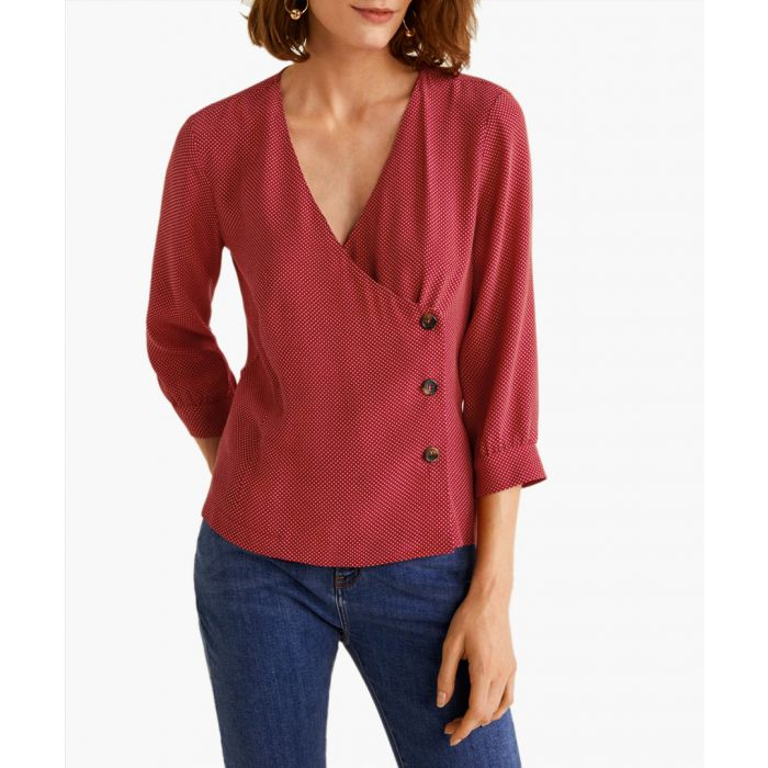 Image for Red buttons detail blouse