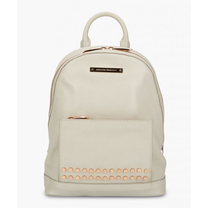 Image for Mini Flynn grey leather backpack