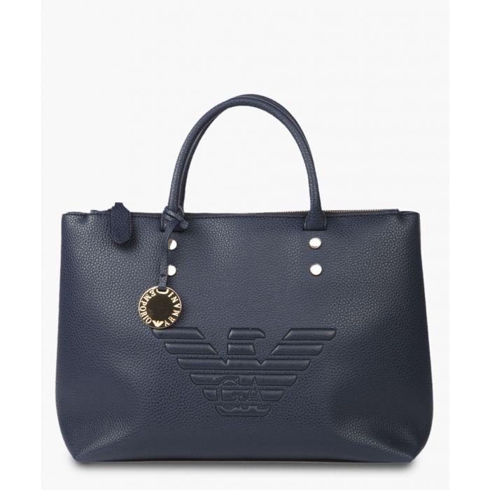 Image for Blue eco-leather embossed logo bag