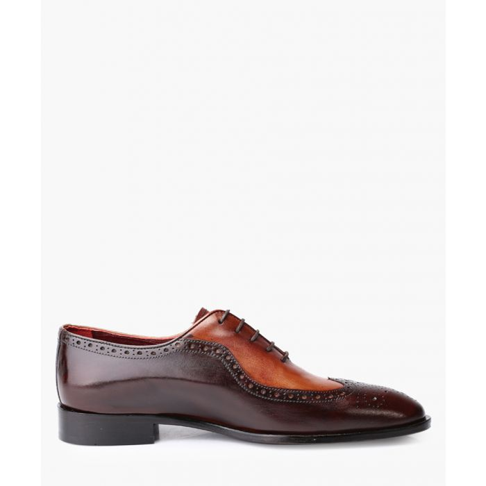 Image for Chocolate brown and tan leather brogue shoes