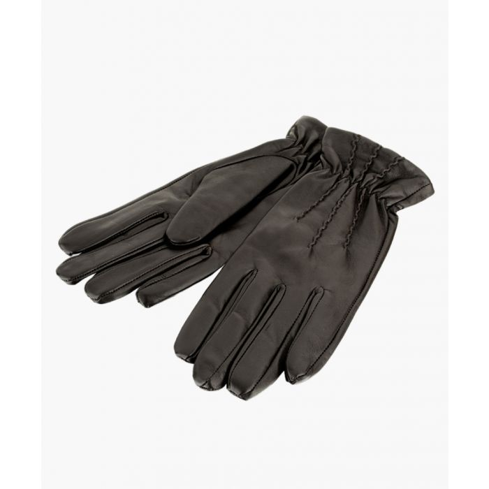 Image for Brown Pin Tuck Leather Gloves