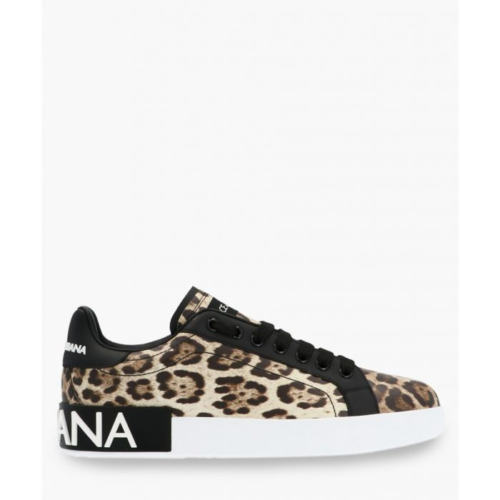 Image for Portofino leopard print leather trainers