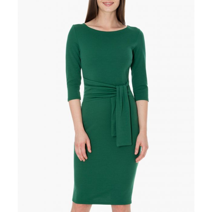 Image for Emerald pencil dress with a tie detail