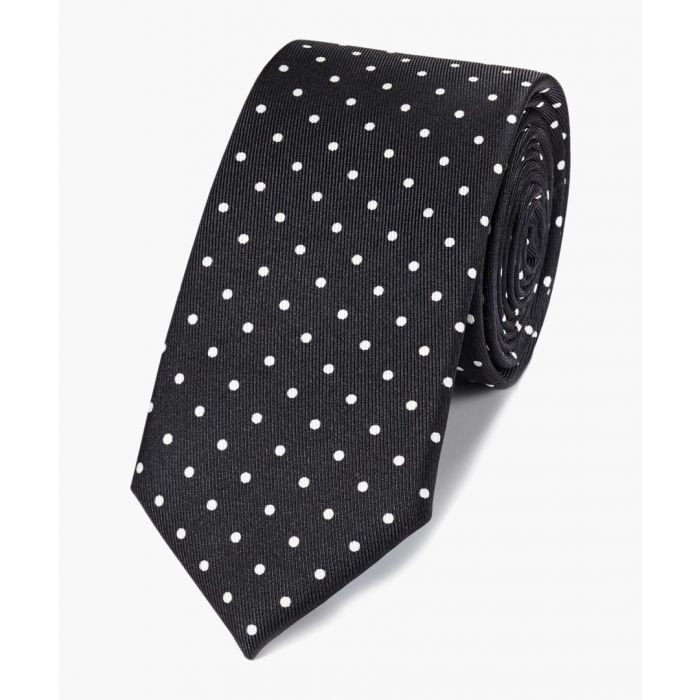 Image for Black and white silk slim printed spot classic tie