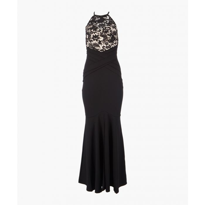 Image for Black halter lace maxi dress