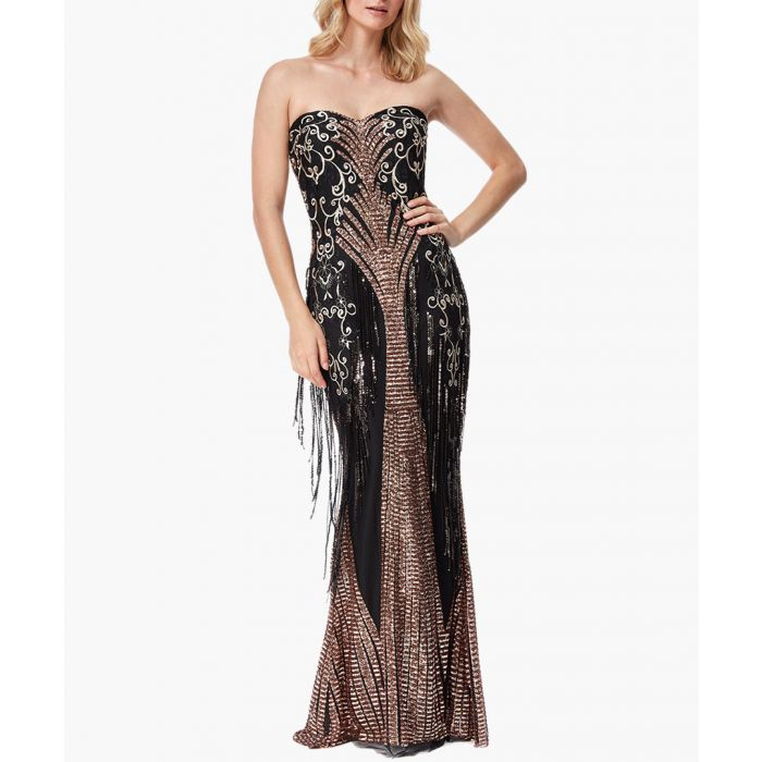 Image for Champagne sweet heart sequin fringe maxi dress