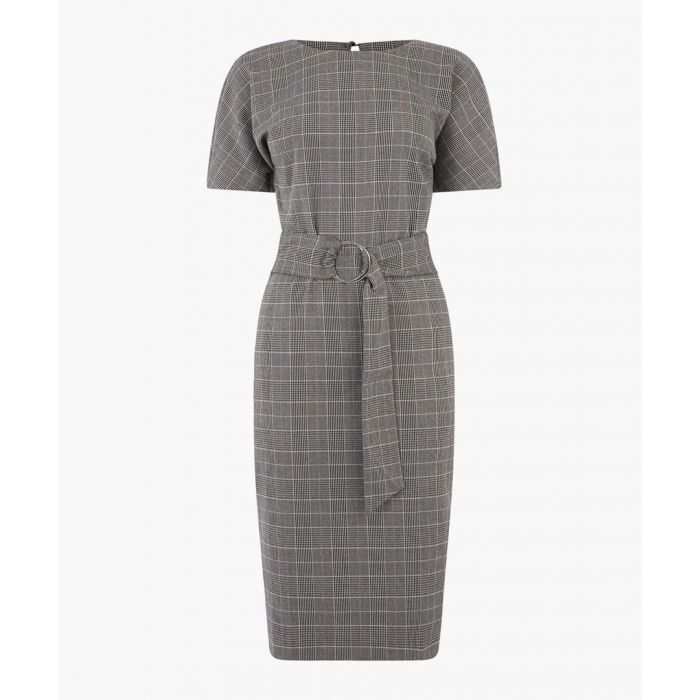 Image for Grey pattern charcoal check wiggle dress