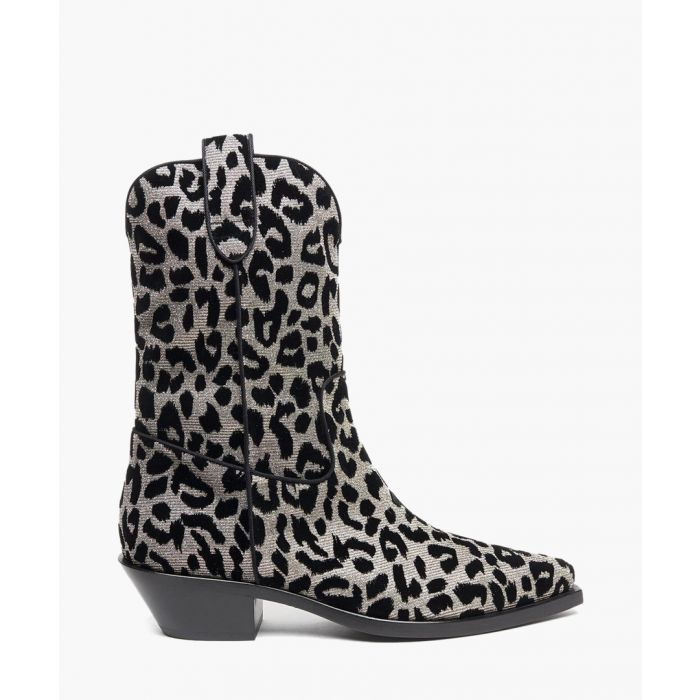 Image for Multi-coloured leopard print velvet gaucho boots