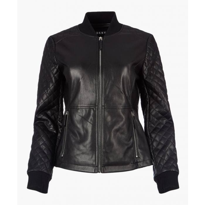 Image for Black quilted faux leather jacket