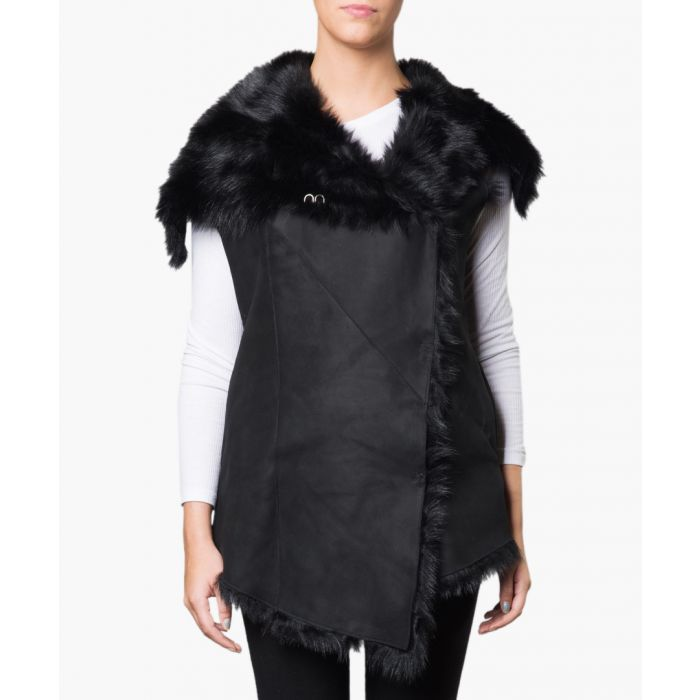 Image for Norica black shearling & leather gilet