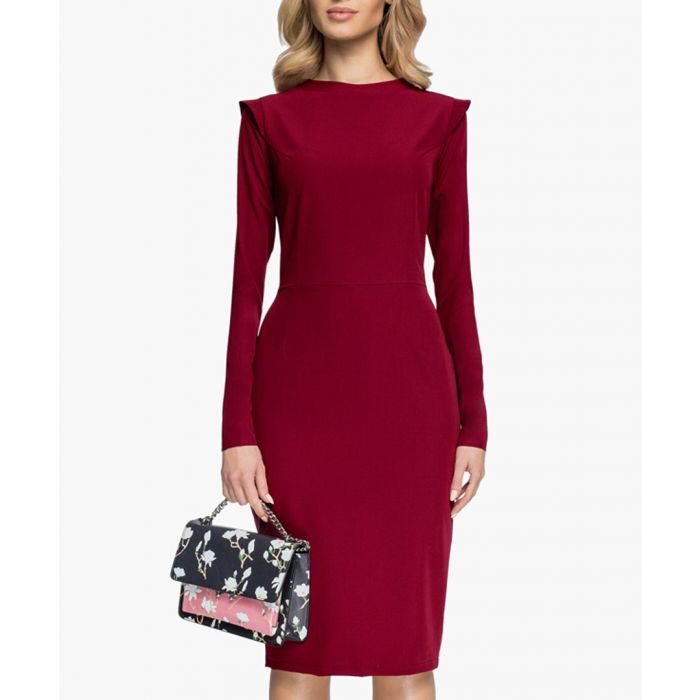 Image for Maroon pleat detail fitted dress