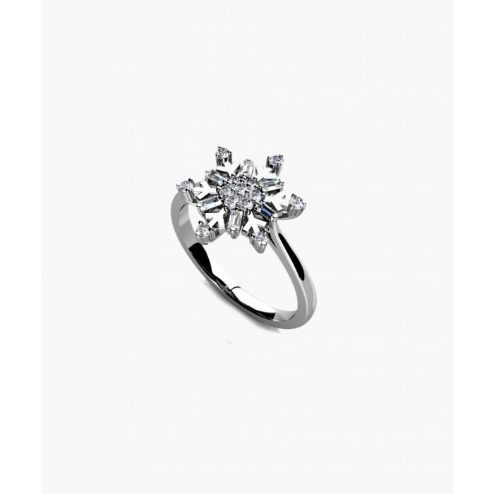 Image for 9k white gold and silver snowflake diamond ring