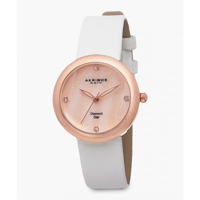 Image for Rose gold-tone and white satin watch