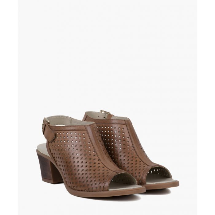 Image for Mink perforated suede heeled sandals