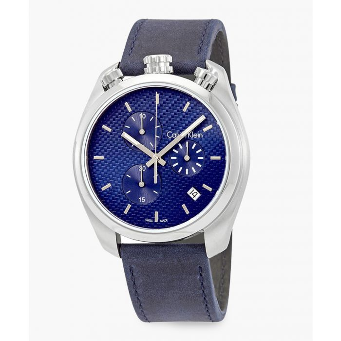 Image for Silver-tone and blue leather watch