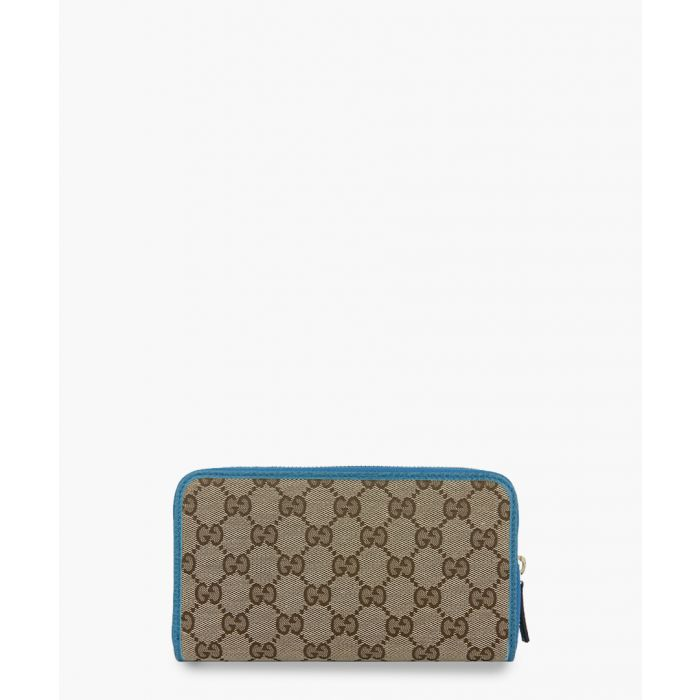 Image for Beige GG canvas and blue leather zip-around wallet