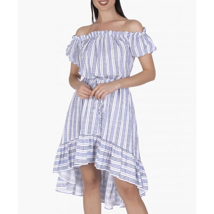 Image for White and blue cotton dress