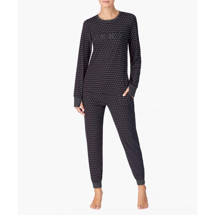 Image for 2pc black star print logo pyjama set