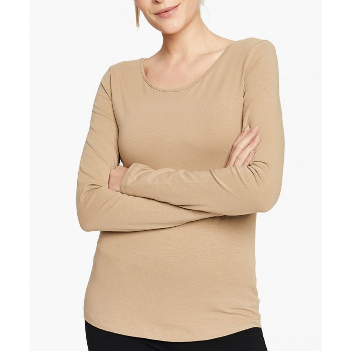 Image for Taupe cotton blend t-shirt