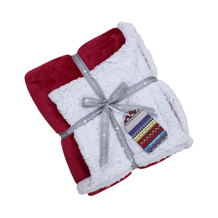 Image for Red lux fleece throw 127x152cm