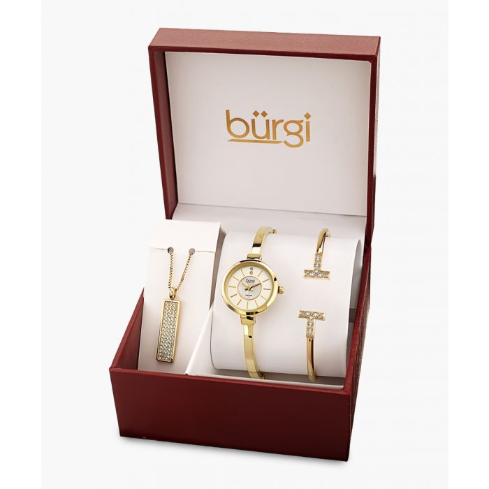 Image for 3pc Gold-tone and crystal watch, necklace and bracelet set