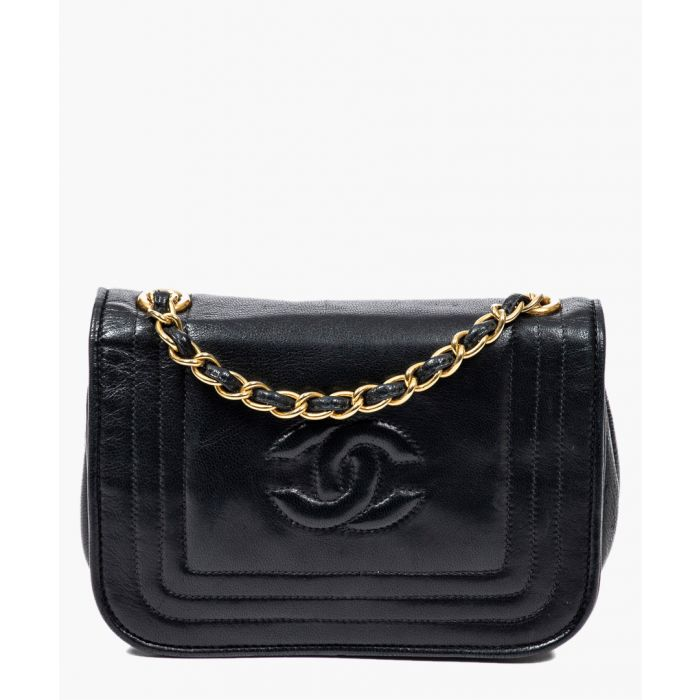 Image for Vintage Mini Single Flap black logo bag