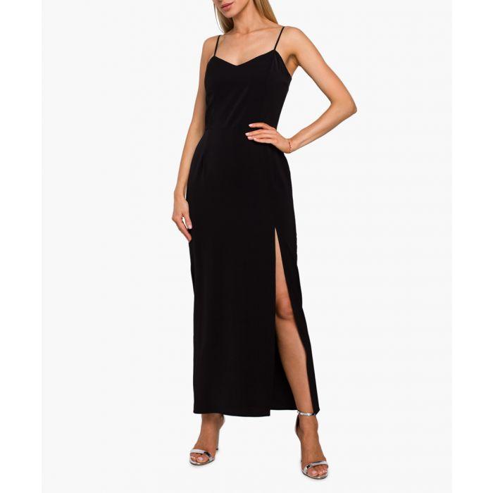 Image for Black side slit maxi dress