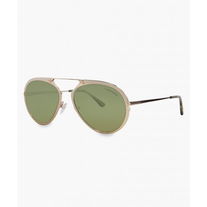 Image for Gold-tone and pink aviator sunglasses