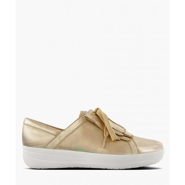 Image for Gold-tone leather lace trainers