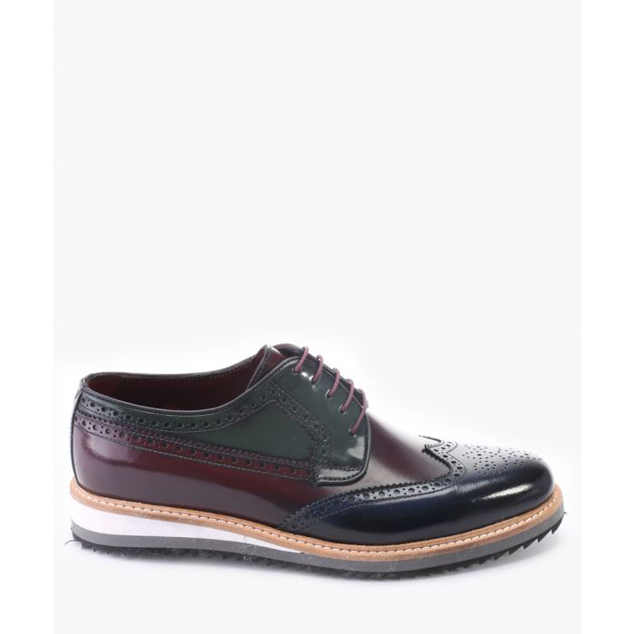 Image for Bordeaux and navy leather derby shoes
