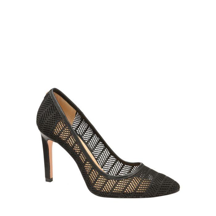 Image for Black mesh court heels