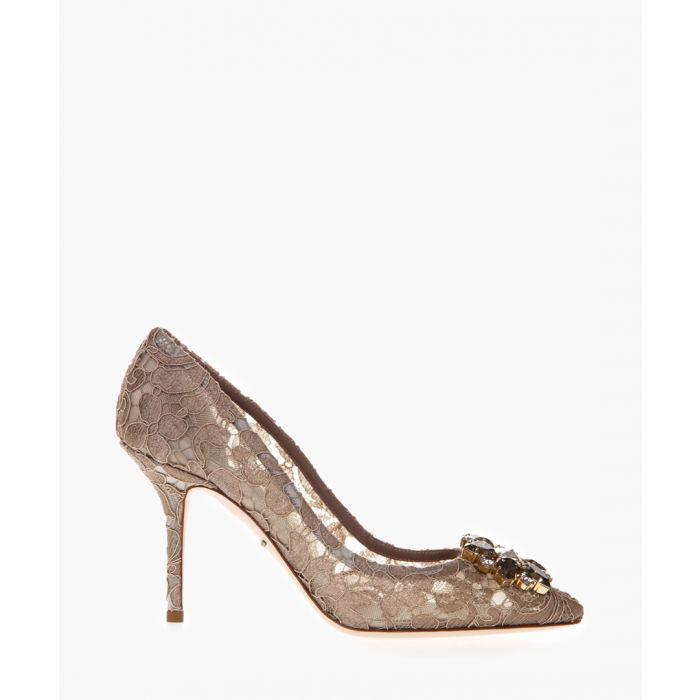 Image for Belluci beige Taormina lace embellished pumps