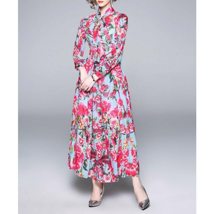 Image for Blue & pink rose print maxi dress