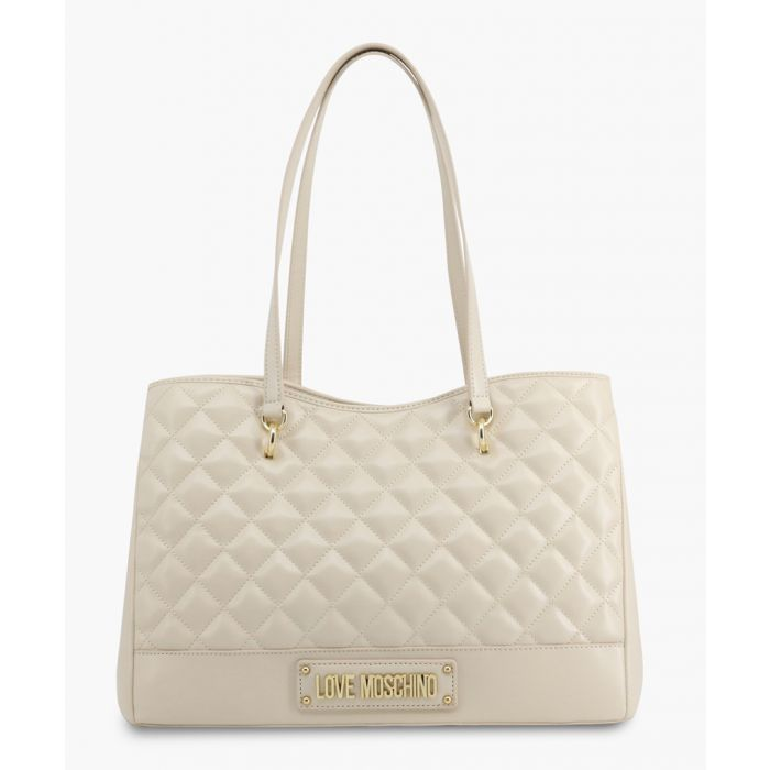 Image for White faux-leather shoulder bag
