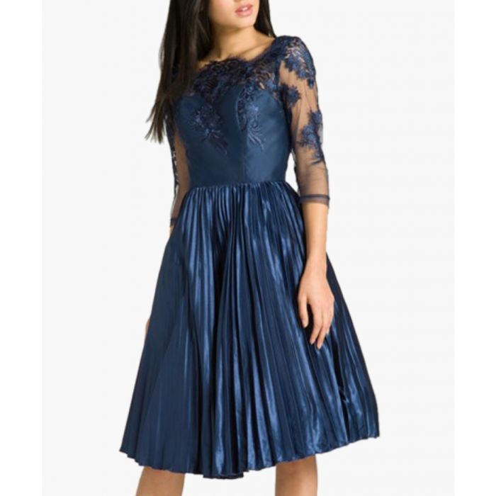 Image for Cadence navy knee-length dress