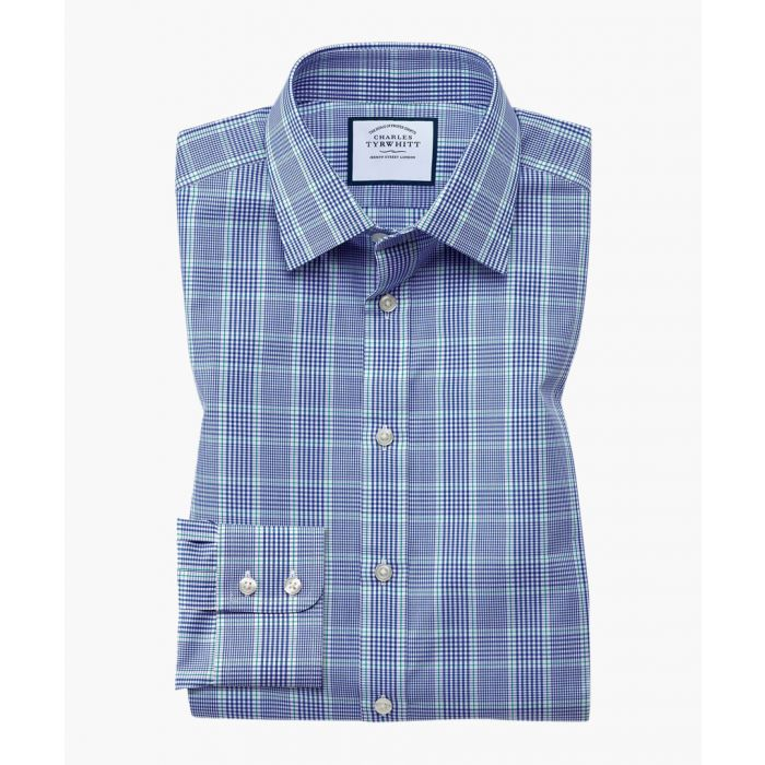 Image for Blue and green pure cotton slim fit Prince Of Wales check shirt