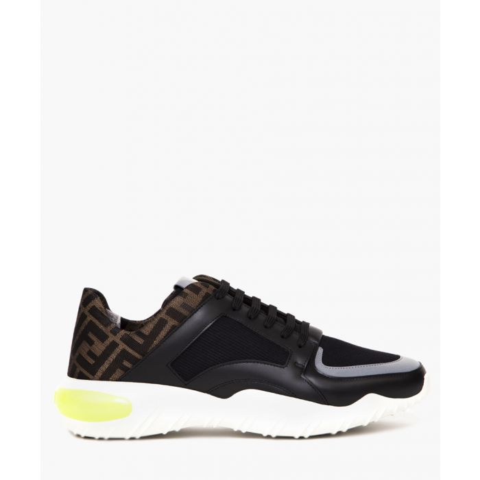Image for Black leather and fabric trainers