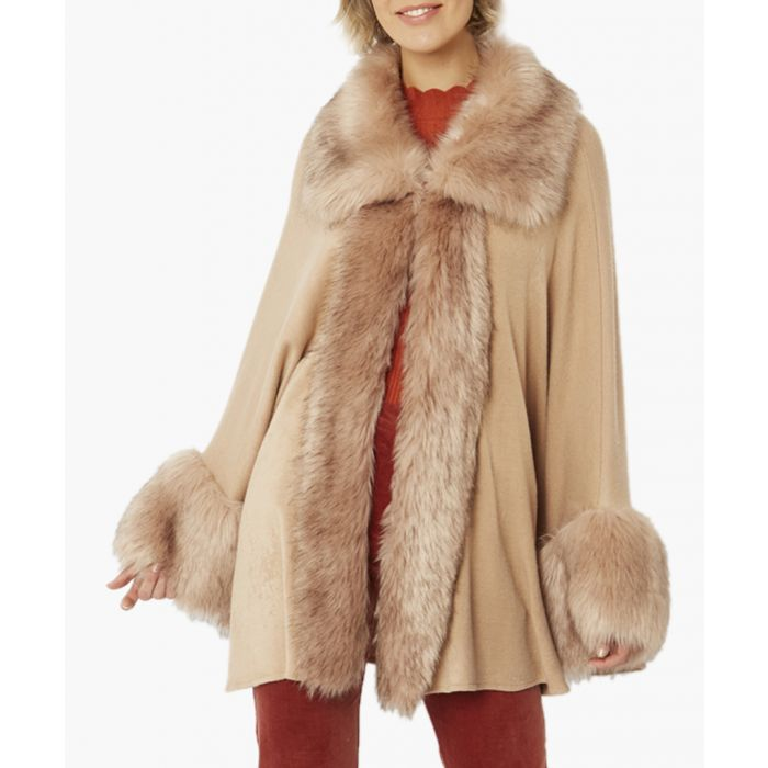 Image for Pale mocha luxury faux fur fine knitted coat