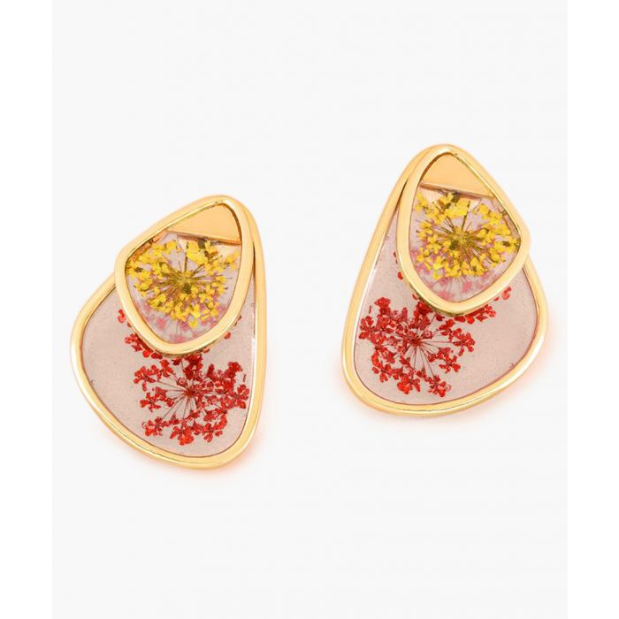 Image for Gold-tone and red small petal earrings