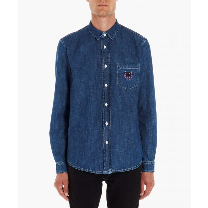 Image for Blue embroidered tiger denim shirt