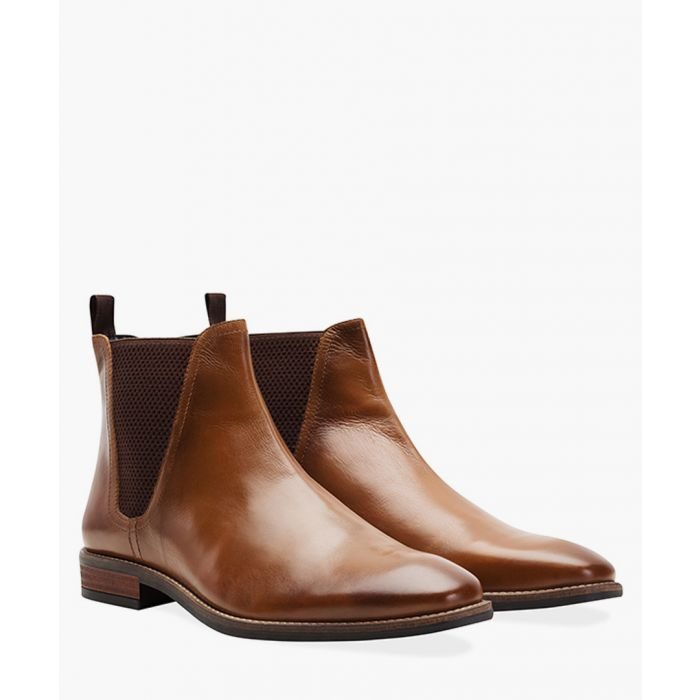 Image for Tan faux-leather square toe Chelsea boots