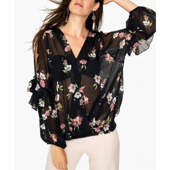 Image for Black cold-shoulder floral blouse