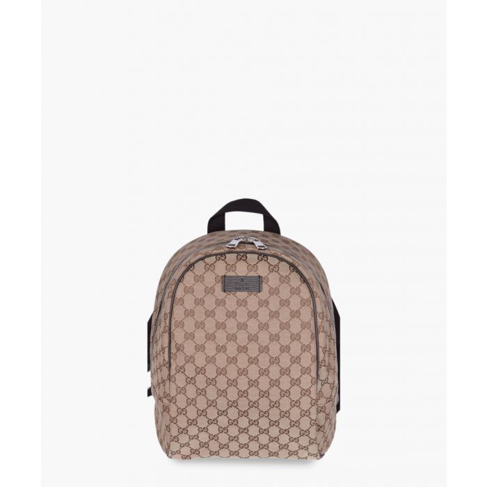 Image for Beige and brown canvas backpack