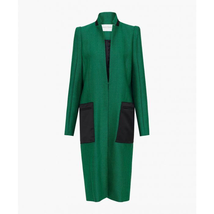 Image for Emerald pure wool herringbone coat