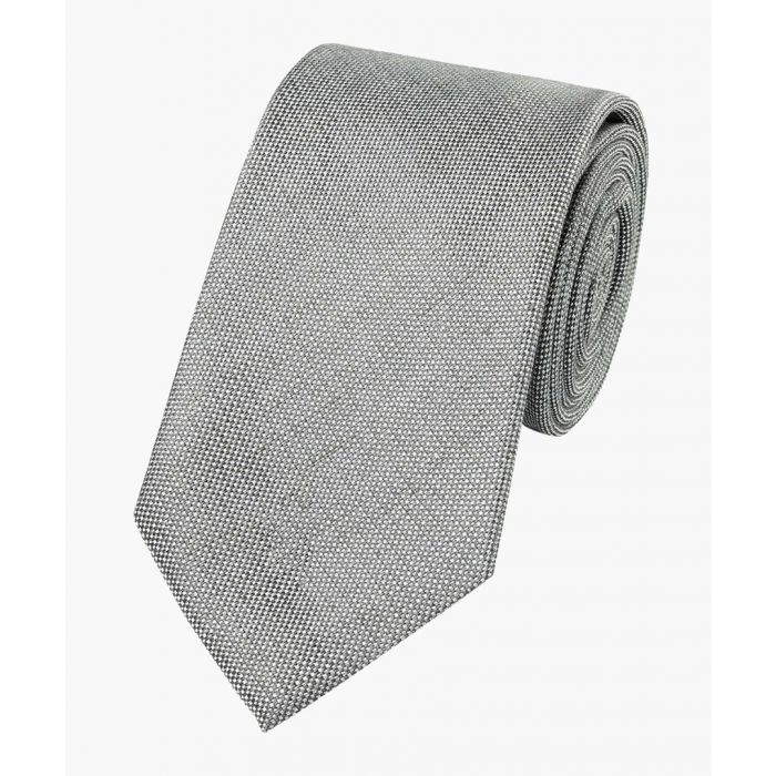 Image for Grey linen silk plain classic tie