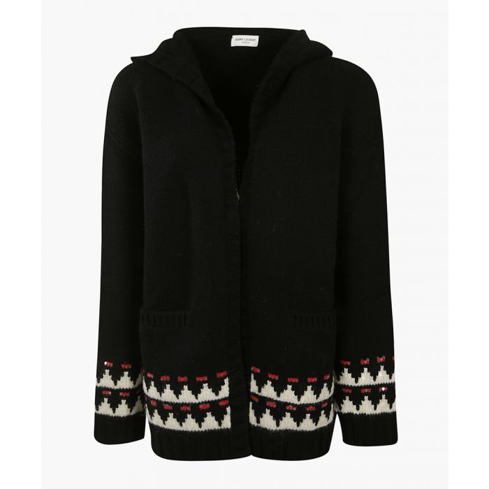 Image for Multi-coloured wool hooded knit cardigan